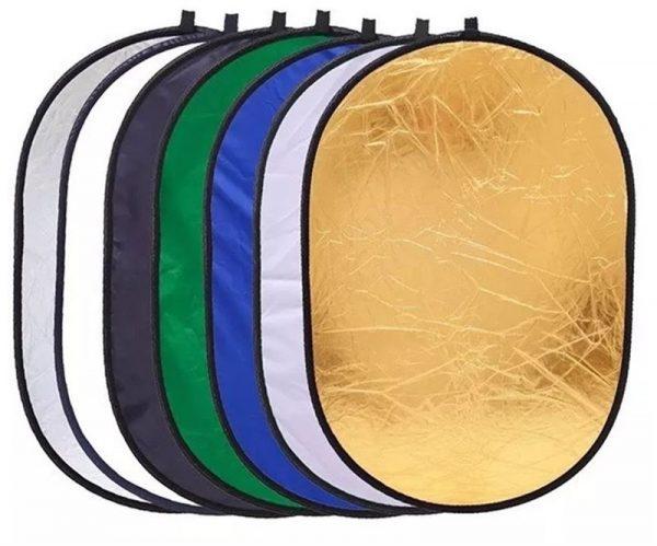 Rebatedor 7 em 1 Oval Dobrável para Iluminação Fotográfica - Greika REB 120X180